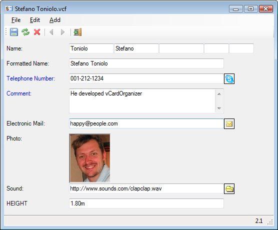 vCardOrganizer - the vcard editor for Windows